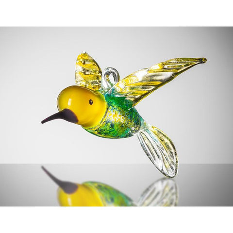 Large Bird - Hummingbird - Yellow and Blue-Sienna Glass