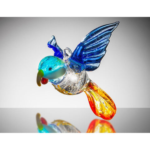 Large Bird - Parrot – Blue and Orange-Sienna Glass