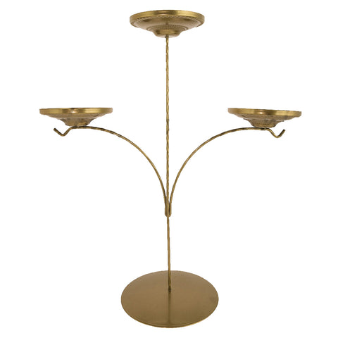 Display Stand - Triple Candle Holder - Gold-Sienna Glass