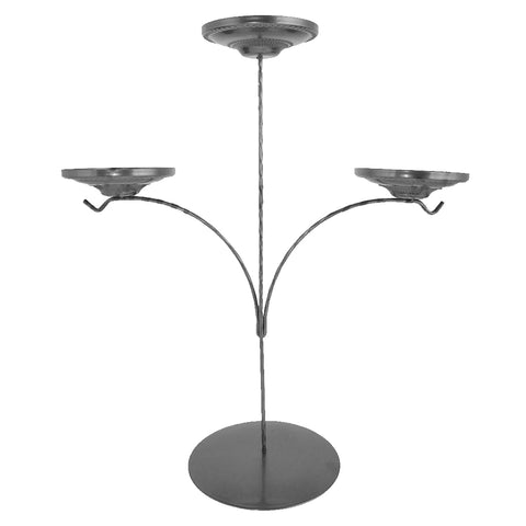 Display Stand - Triple Candle Holder - Silver-Sienna Glass