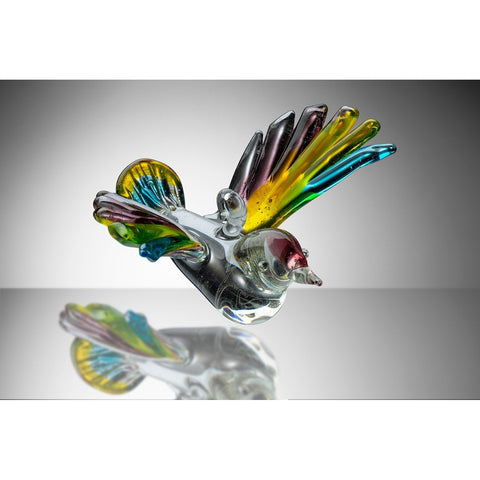 Small Bird – Blue, Yellow and Purple-Sienna Glass