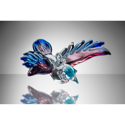 Small Bird – Purple and Blue-Sienna Glass