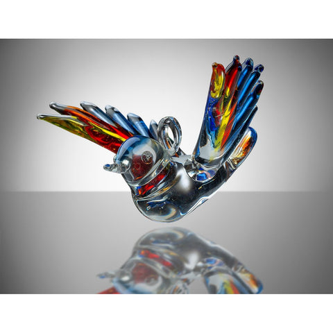 Small Bird – Yellow, Red and Blue-Sienna Glass