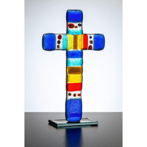Standing Glass Cross - Multioloured-Sienna Glass