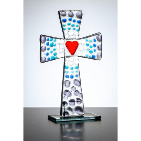 Standing Glass Cross - Purple & Blue-Sienna Glass