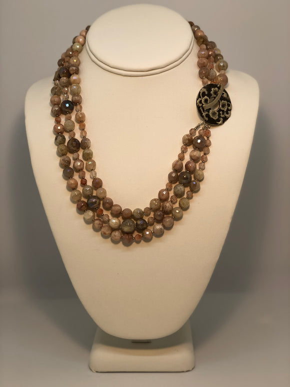 Pink Moonstone 3-Strand Necklace with Sterling Beads & White Bronze Toggle
