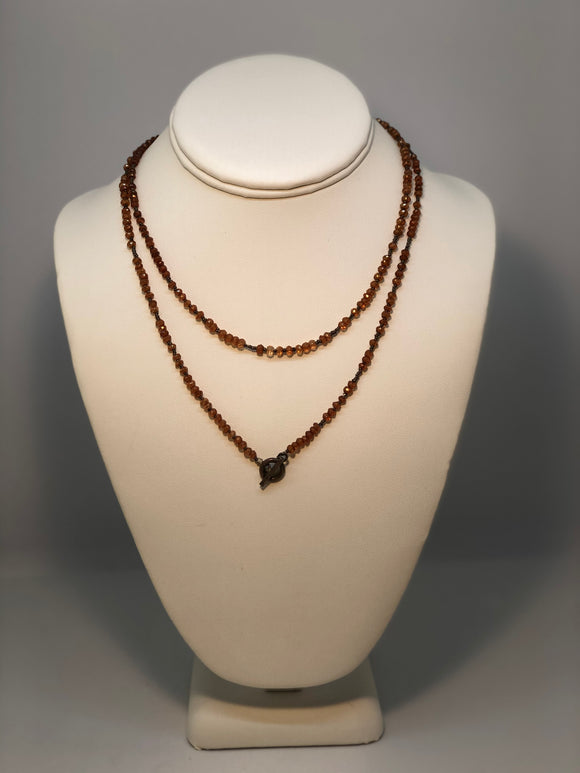 Iridized Quartz Necklace with Sterling Beads & Toggle Clasp