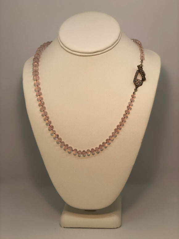 Knotted Rose Quartz Necklace with Sterling Clip Toggle