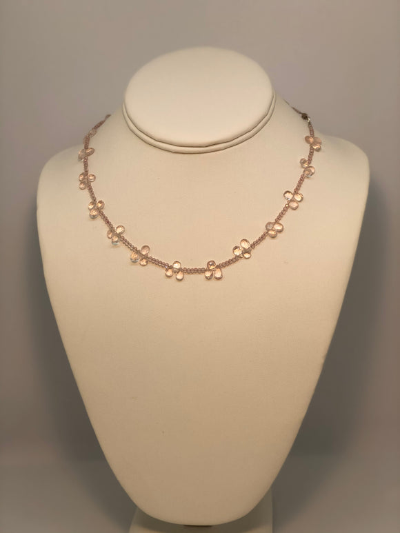 Rose Quartz Cluster Necklace with Sterling Hardware