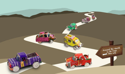 Around the World in 80 Days Logo - Cars driving down a winding road.