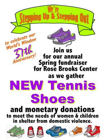 Donate tennis shoes for Rose Brooks Center