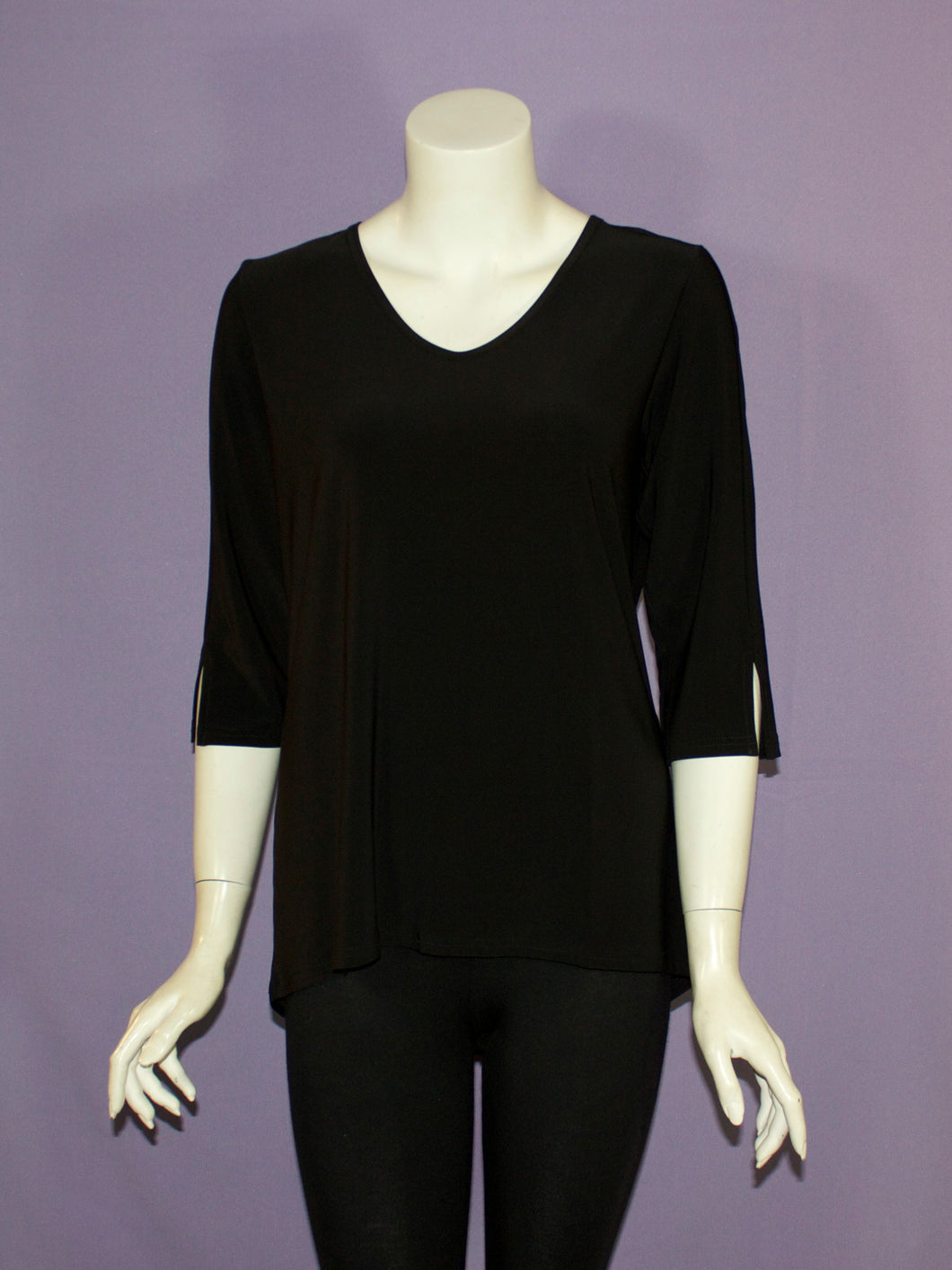 Basic Poly 3/4 Sleeve V-Neck Tunic - 4 colors