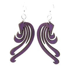Laser Cut Wood Earrings - Blowing Wind