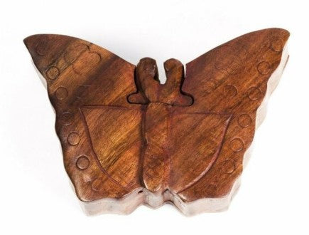 Wooden Butterfly Puzzle Box