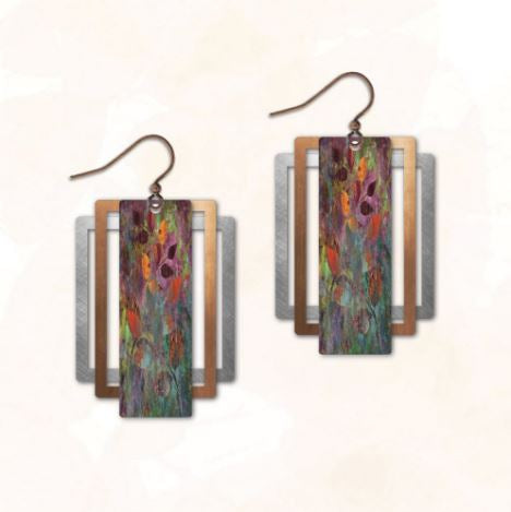 Illustrated Light Earrings - Leaves Rectangle w/Copper & Silver