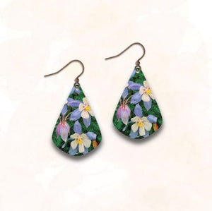 Illustrated Light Earrings -  Bright Flowers Fan