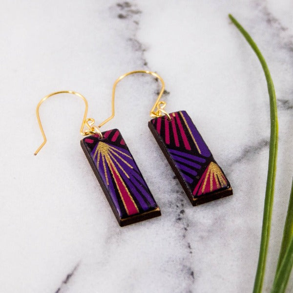 No Man's Land Artifacts - Purple and Gold Deco Rectangle Earrings