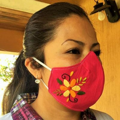 Embroidered Shaped Face Masks - Adult Large - many colors/patterns
