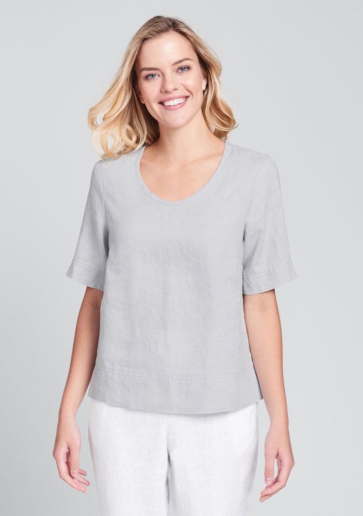 Flax Linen Linear Crop Top