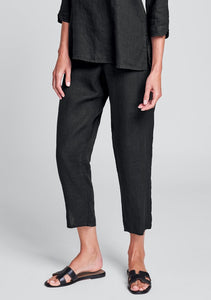 Flax Pocketed Ankle Pant - Black