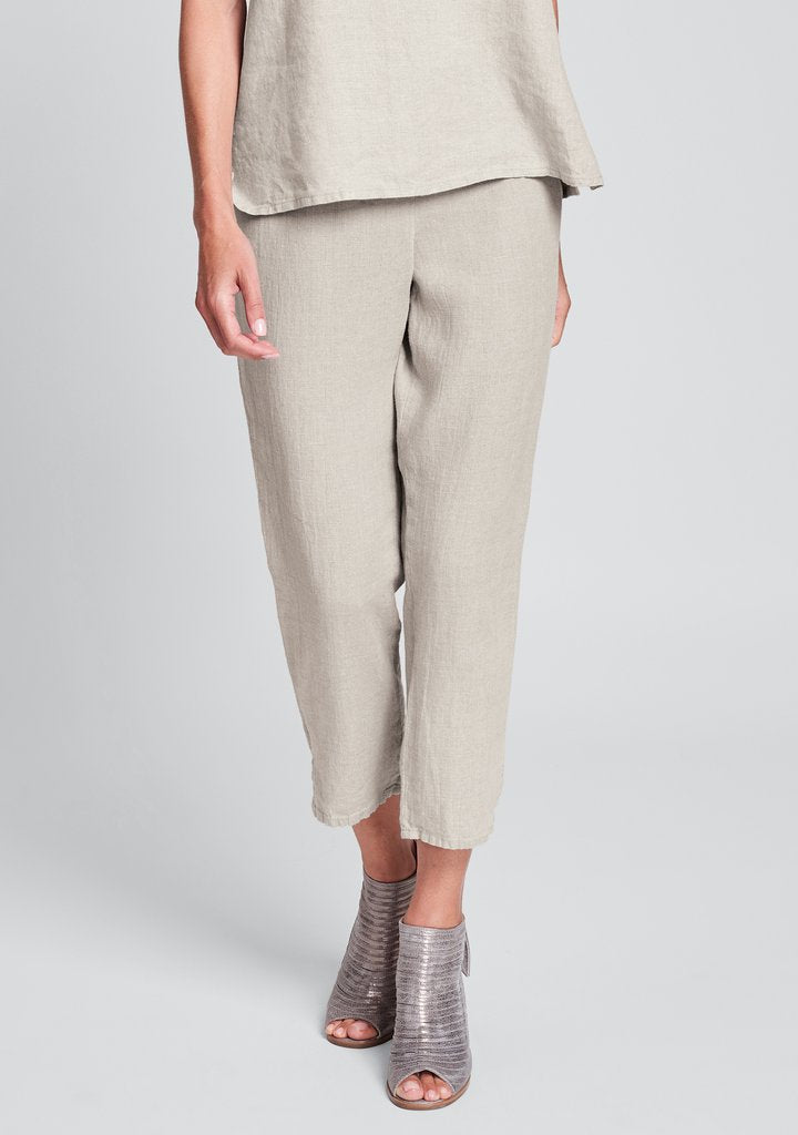 Flax Linen Pocketed Ankle Pant - Natural
