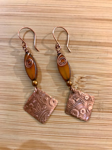 Bee Creek Designs - Triangle Copper and Czech Bead Earrings