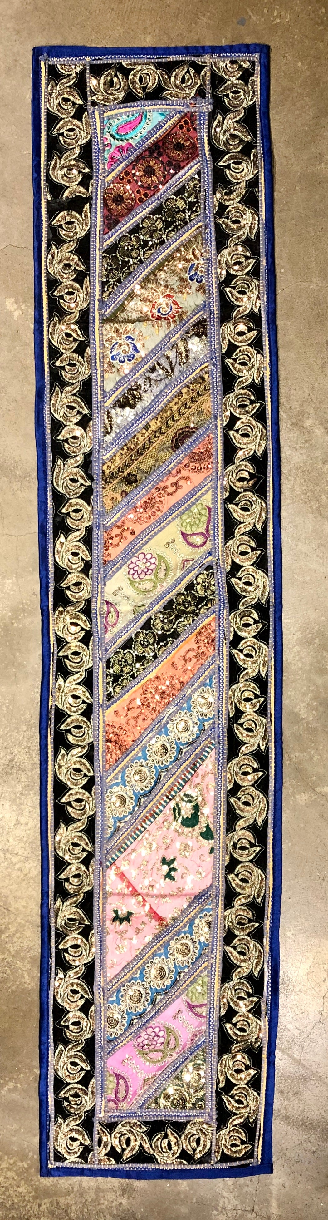Pieced Vintage Textile - Gold Embroidered Runner