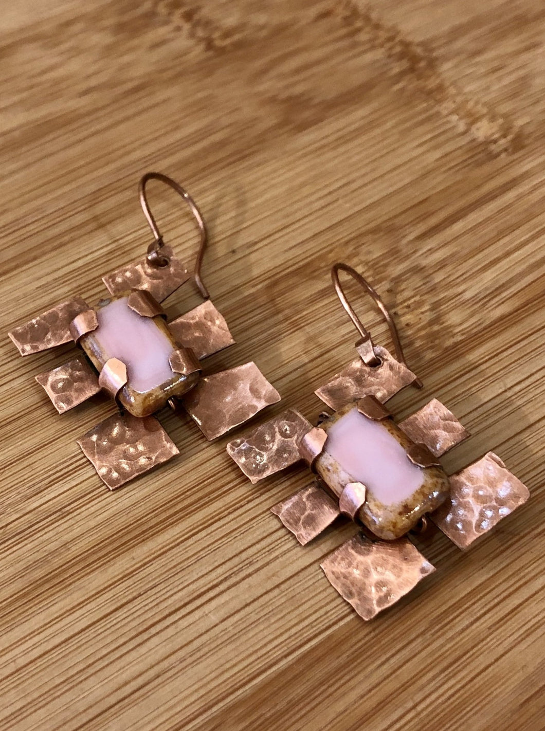 Bee Creek Designs - Copper Earrings with Glass Beads
