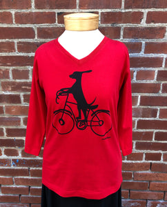 Marushka 3/4 Sleeve V-neck Tee - Dog on Bike