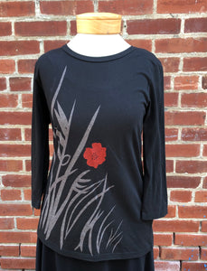 3/4 Sleeve Scoop Neck Tee - Wild Flowers