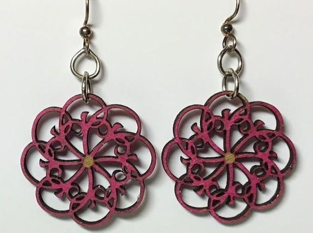Laser Cut Wood Earrings - Geometric Flower