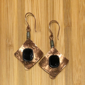 Bee Creek Designs - Copper and Czech Glass Bead Earrings