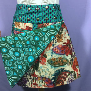 Reversible Snap Skirt - Mimisan Green/Circles