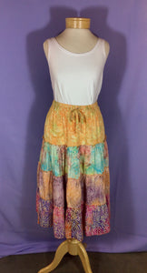 Batik 4-Tiered Skirt - Orange/Pink