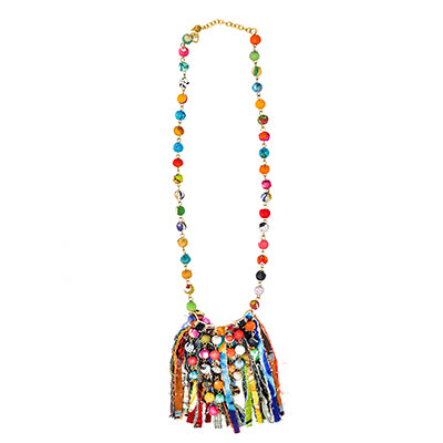 Kantha Dot Fringe Necklace