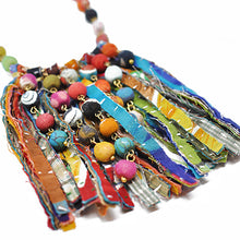 Load image into Gallery viewer, Kantha Dot Fringe Necklace