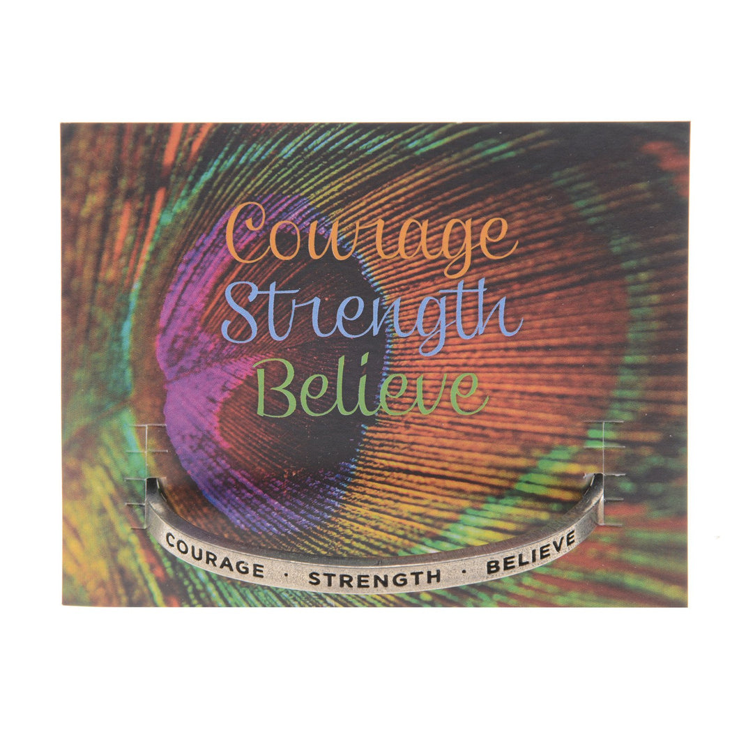 Quotable Cuff Bracelet - Courage Strength Believe