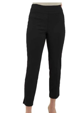 Ankle-Length Pants with Faux Pockets - Black