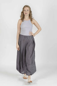 Stitched Wide Leg Pants - Grey