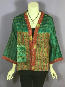 The Red Sari - Pocket Kimono Jacket - Green/Red