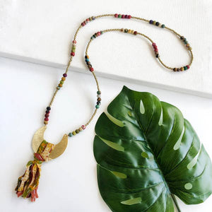 Kantha Crescent Pendant Necklace