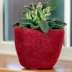 Wool Felted Planter - Red