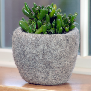 Wool Felted Planter - Steel Grey
