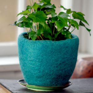 Wool Felted Planter - Turquoise