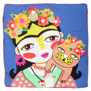 Pillow - Indigo Blue Embroidered Girl with Cat with Filler