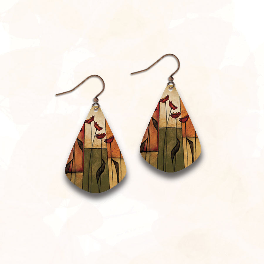 Illustrated Light Earrings - Flowers Decorate my Path