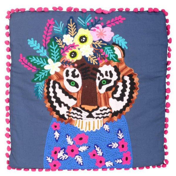Pillow - Dark Blue Embroidered Tiger Pillow with Filler