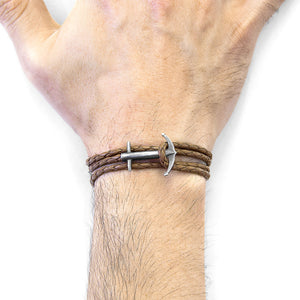 Buy Online Latest Premium Quality Light Brown Admiral Silver & Leather Bracelet  - The Preferred Bird
