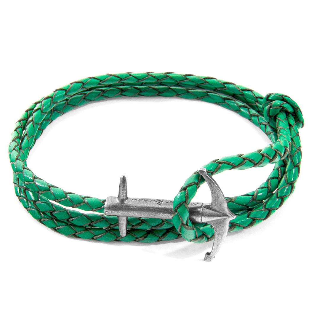 Buy Online Latest Premium Quality Fern Green Admiral Silver & Leather Bracelet  - The Preferred Bird