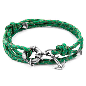 Buy Online Latest Premium Quality Fern Green Clyde Silver & Leather Bracelet  - The Preferred Bird